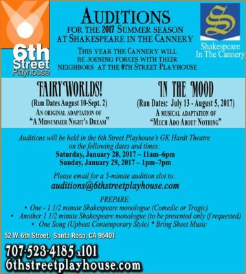 Auditions for Shakespeare in the Cannery Jan 28 & 29