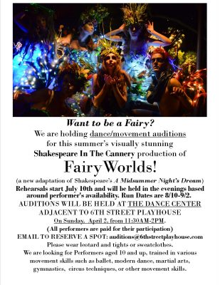 Dance & Movement Auditions this Sunday Apr 2nd
