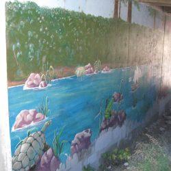 Boy, Egret Mural