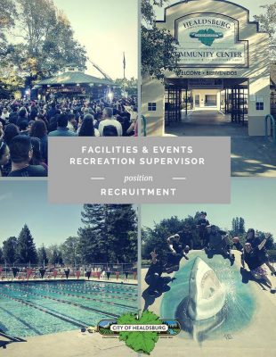 JOB OPPORTUNITY: City of Healdsburg Recreation Supervisor - Facilities & Events