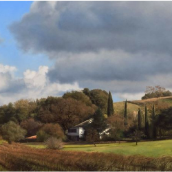 Farmhouse with Italian Cypress