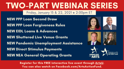 FREE WEBINAR: Learn How to Tap The New Covid-19 Relief Funds for the Arts 1.15.21 & 1.22.21