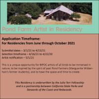 CALL TO ARTISTS | WRITERS: Pond Farm Artist Residency